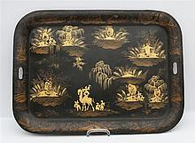 A metal serving tray with Chinoiserie decoration of a camel in a