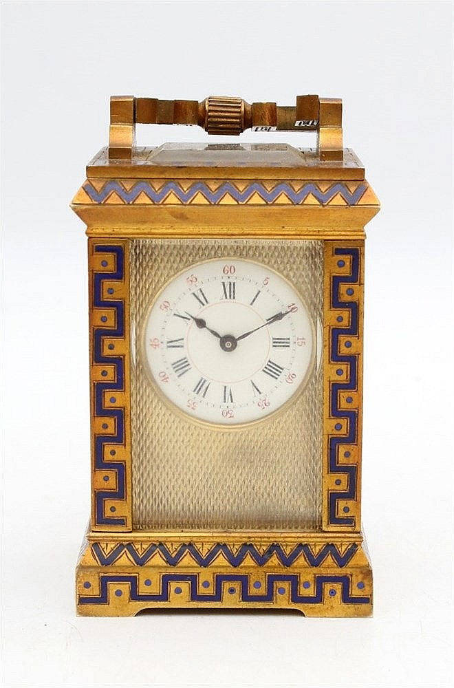 A gilt bronze part enamelled carriage clock. 20th century. 8,5 x