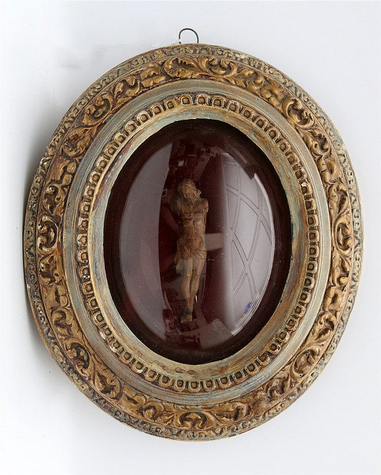 A wooden corpus Christi (missing arms). Framed. 19th century. Ho