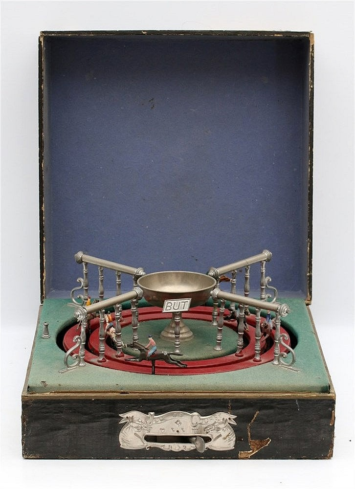 A mechanical horse racing game, 'Jeux de course'. France, circa