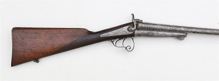 A double-barreled rifle. England, 19th century. Lengte 117 cm.