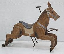 A wooden polychrome carousel horse. First half 20th century.  H