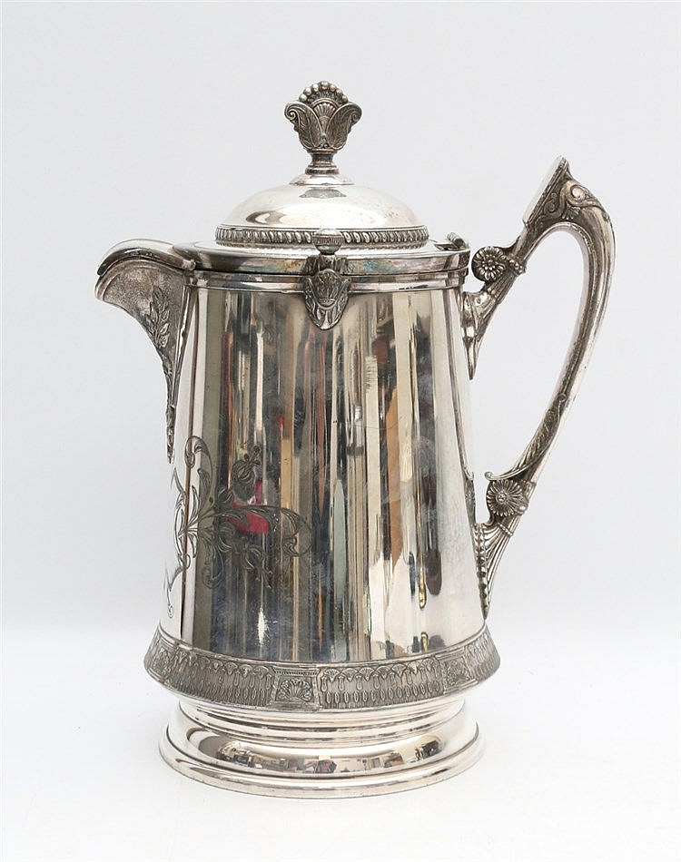 An English plated water pitcher with patented liner, Reed and Ba