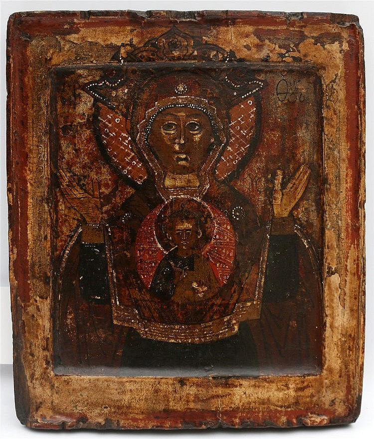 A Russian icon, Mother of the sign. 19th century. 31 x 27 cm.