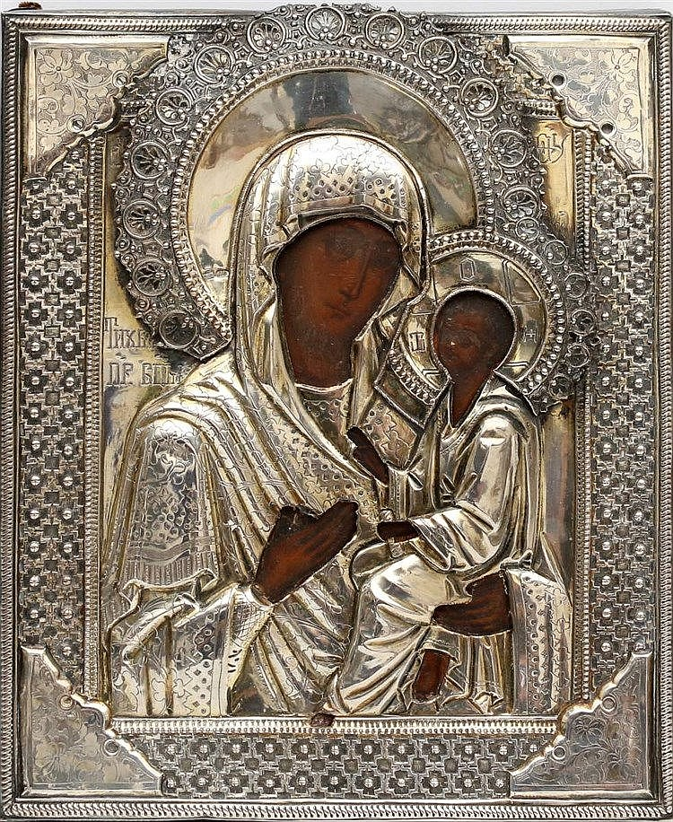 A Russian icon with silver riza. Mother of God. 1893. 27 x 23