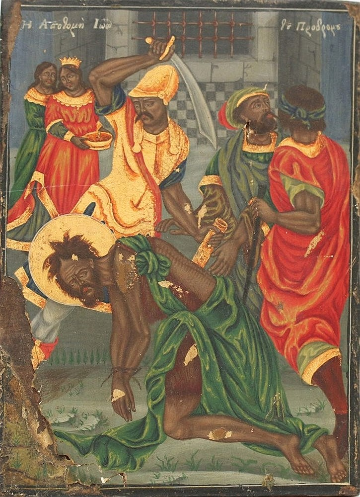 A Greek icon. The beheading of John. 19th century. 37 x 27 cm.