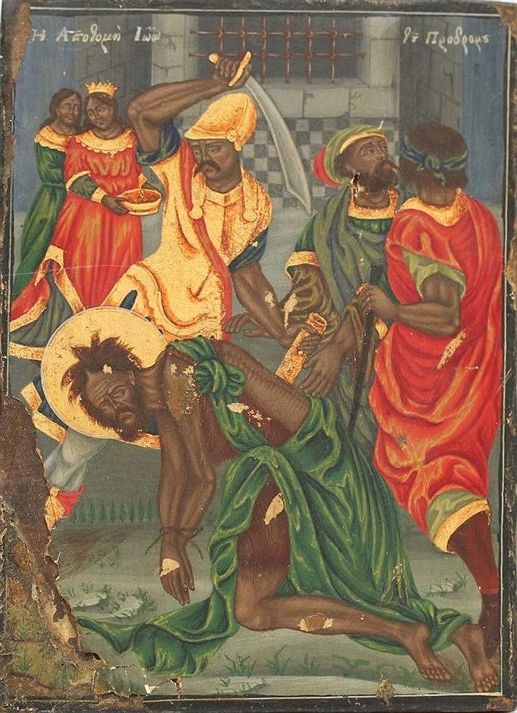 A Greek icon. The beheading of John. 19th century. 37 x 27 cm.