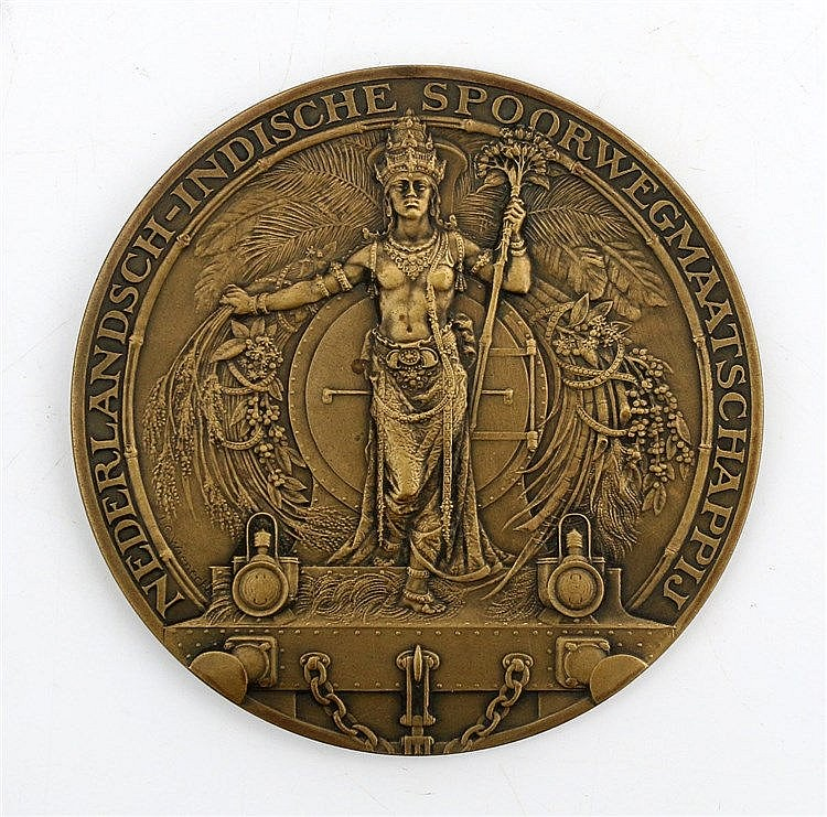 A bronze medal, 50 year (1863-1913) anniversary of the Dutch-Ind