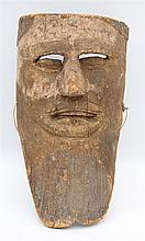 A wooden mask. Man with beard. Carapan, Mexico. 28 cm.