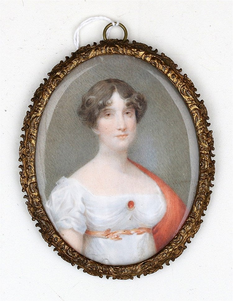 A portrait miniature on ivory. A lady. Unclearly signed. 19th ce