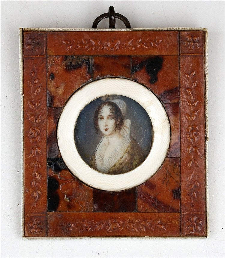 A portrait miniature on ivory with an ivory and tortoise shell f