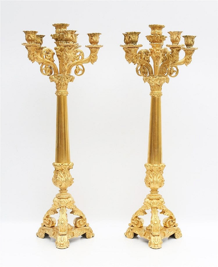 A pair of large ormolu six lights candelabra. French, 19th centu