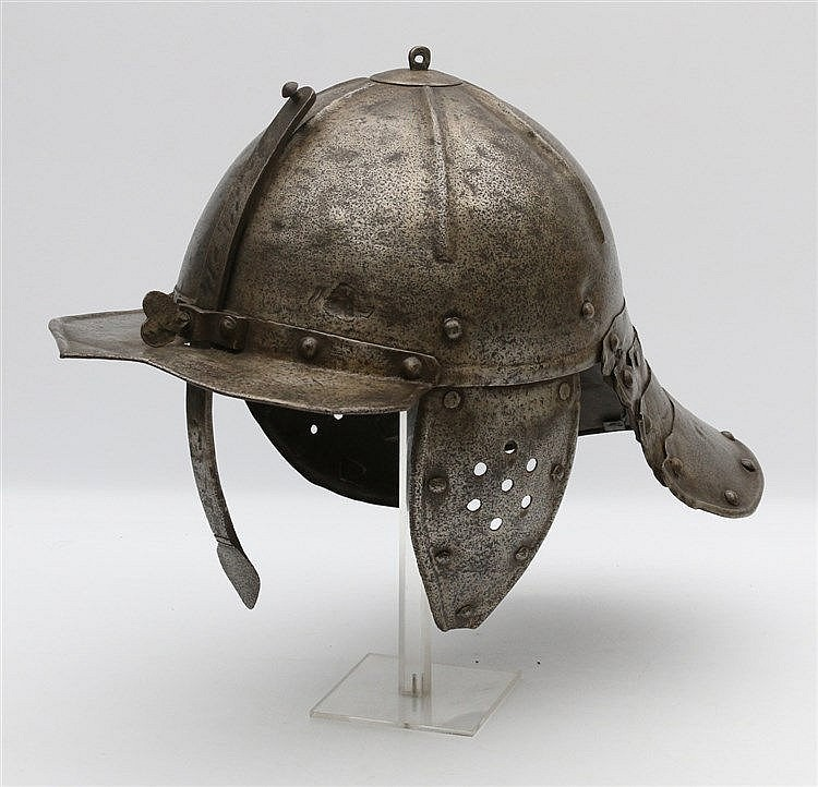 An iron 'lobstertail' helmet. Possibly Hungary, possibly incorpo