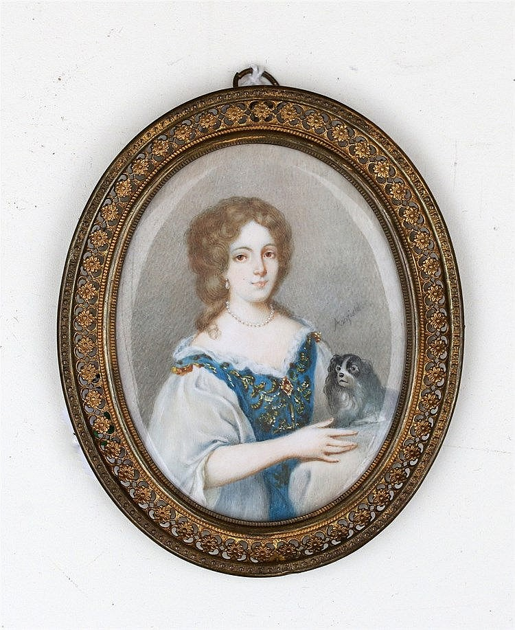 A portrait miniature on ivory. A Lady with a dog on her lap. Sig
