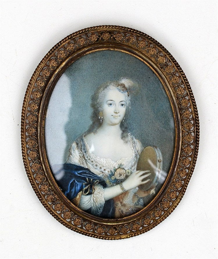A portrait miniature on ivory. A Lady with a tambourine. Not sig