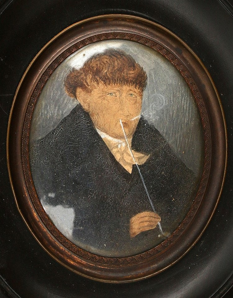 A portrait miniature on paper. A portrait of Jannes Schaapschoe.