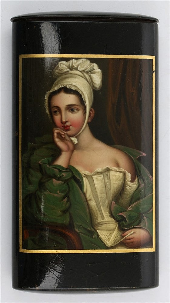 A Stobwasser lacquered paper-maché cigar case. 19th century. Mar