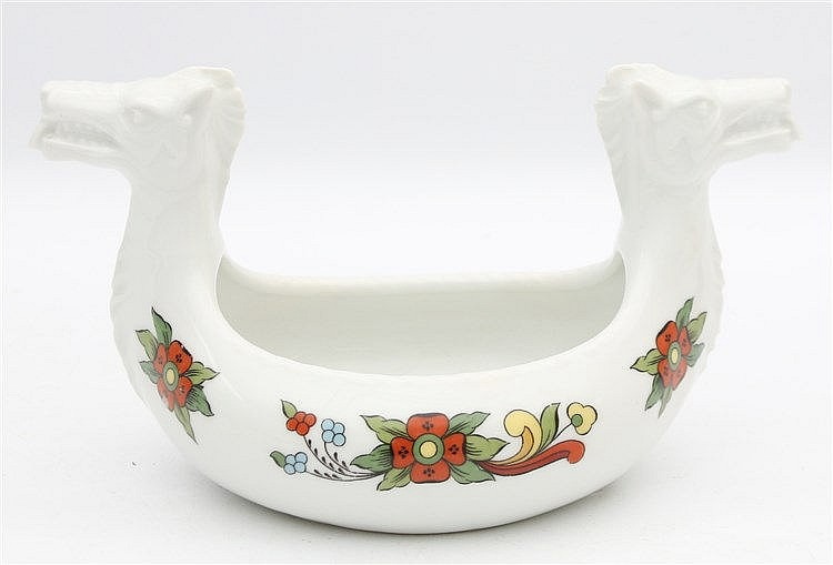 A Norwegian porcelain dish in the shape of a Viking ship. A 'Kje