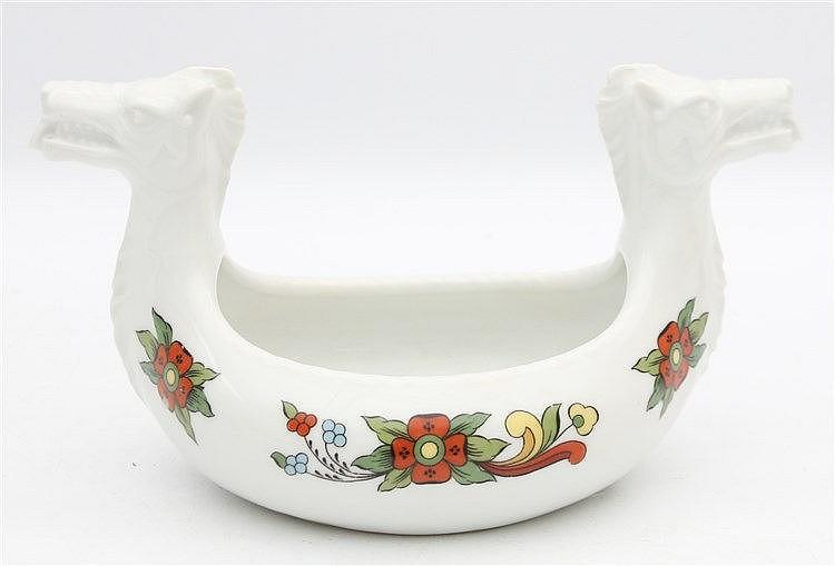 A Norwegian porcelain dish in the shape of a Viking ship. A 'Kje