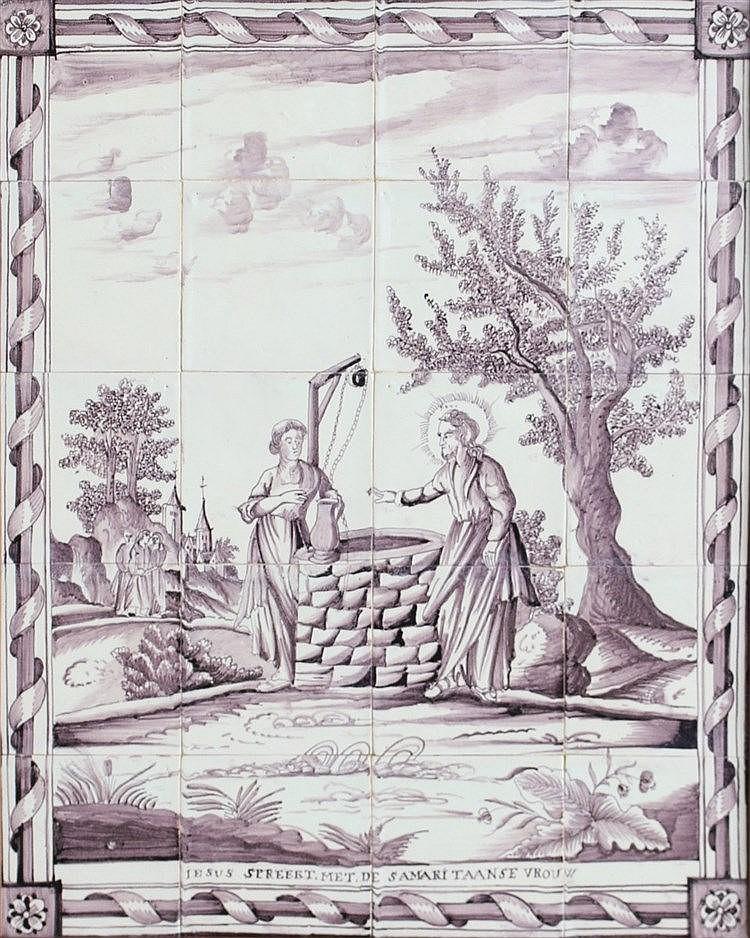 A ceramic tile panel. Consisting of 20 tiles. With a biblical de