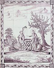 A ceramic tile panel. Consisting of 20 tiles. With a biblical de