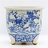 A Chinese blue and white tripod jardinière decorated with birds