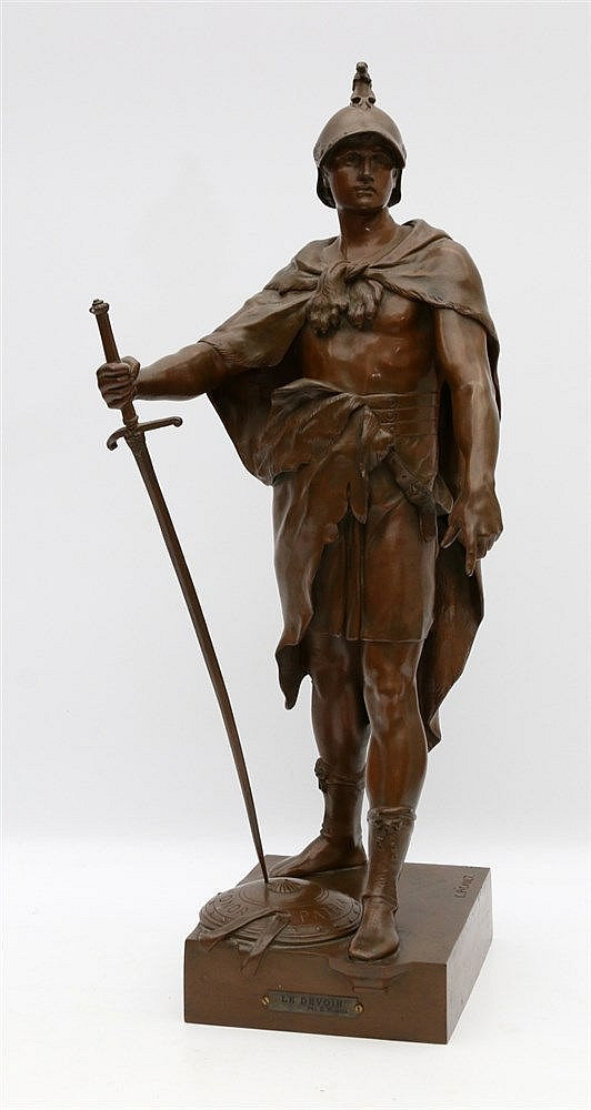 Emile Louis Picault (1833-1915) A bronze sculpture. 'Le devoir'.