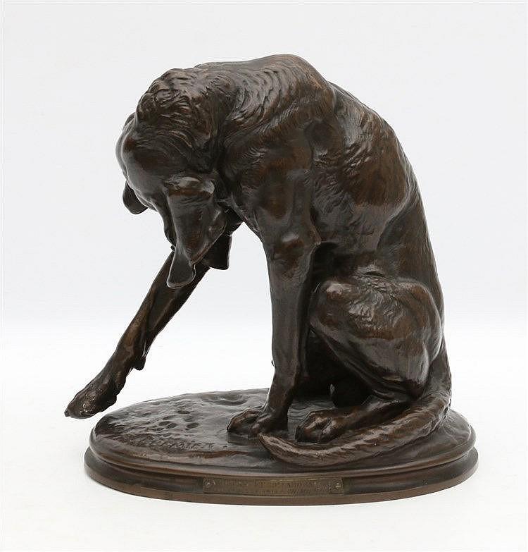 Emmanuel Frémiet (1824-1910) A bronze sculpture. 'Chien courant b