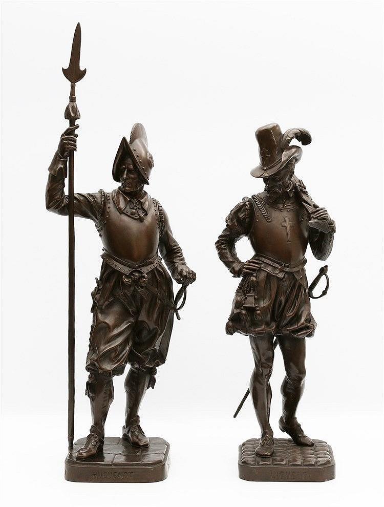Armand Jules Le Véel (1821-1905) Two bronze statues. 'Huguenot' a