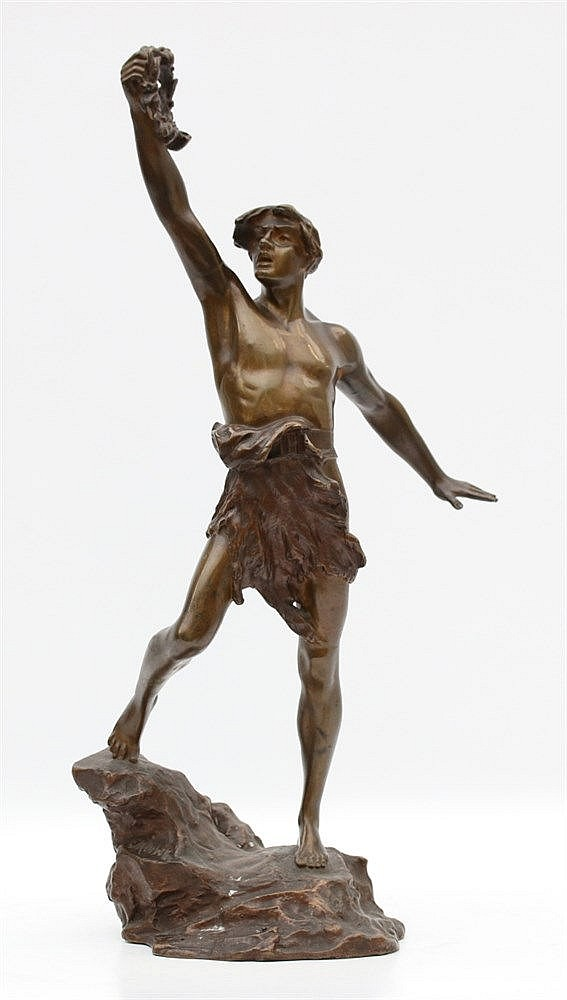 Charles Lemoine (1839-) A bronze statue of a man with a laurel.
