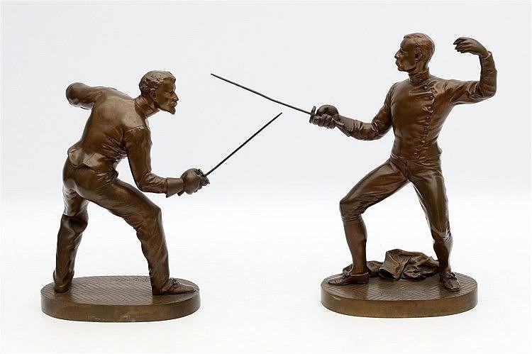 Benedict Benoît Rougelet (1834-1894) Two bronze sculptures. Fenci