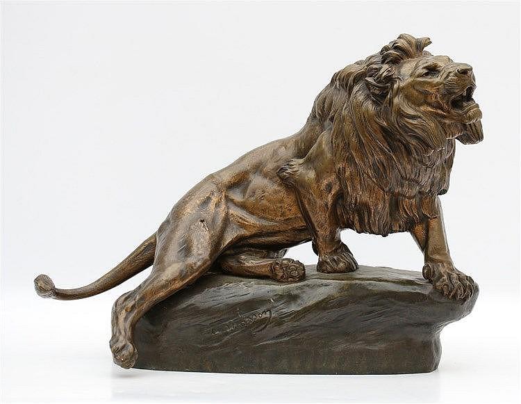 Clovis-Edmond Masson (1838-1913) A bronze sculpture. 'Lion blessé