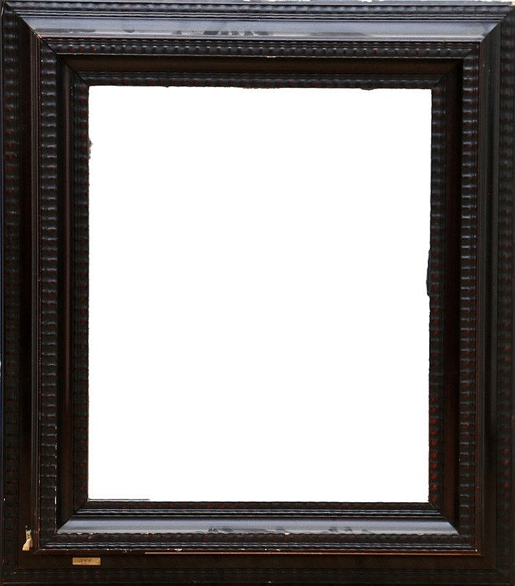 An ebonised mirror with frame, 19th century.  85,5 x 74,5 cm.