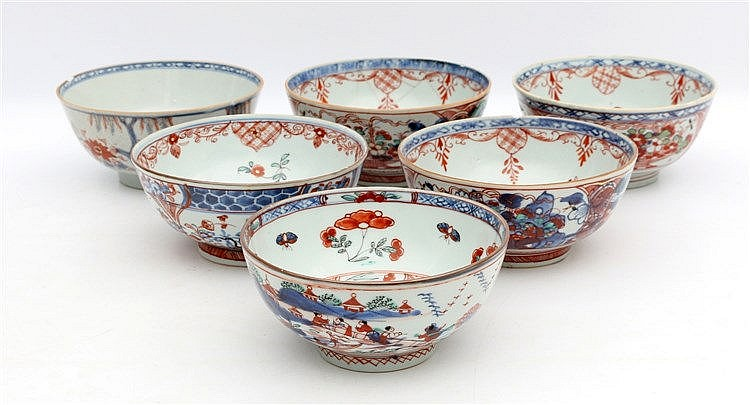 A collection of six Chinese blue and white and overdecorated 'Am