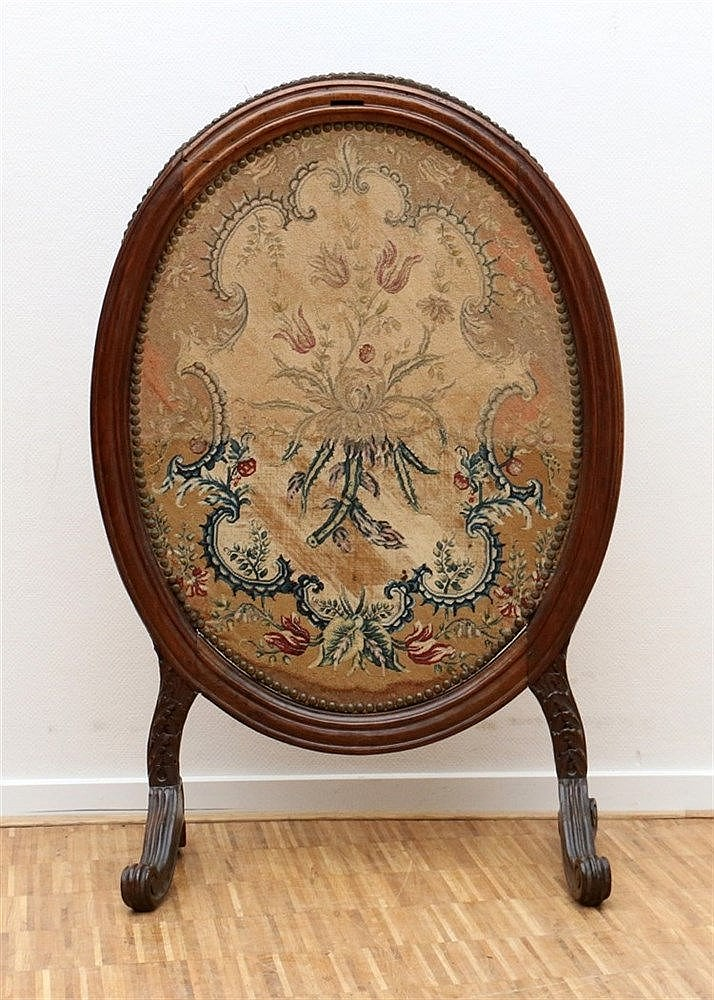 An oval mahogany fencer, with removable interior embroidered wit