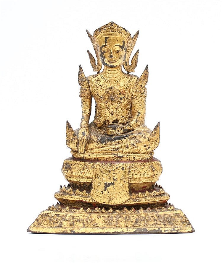 A Thai Ratnakosin style gilt bronze Buddha,seated on a lotus th