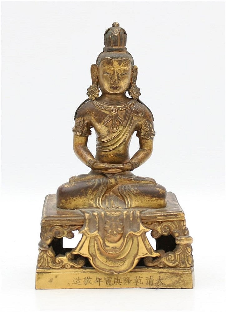 A Chinese gilt-bronze figure of Buddha Amitayus, seated in dhy