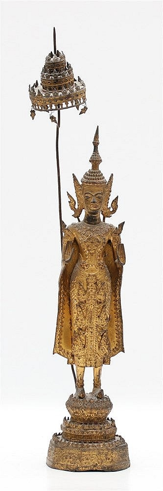 A Thai Ratnakosin style gilt bronze figure of Buddha, standing