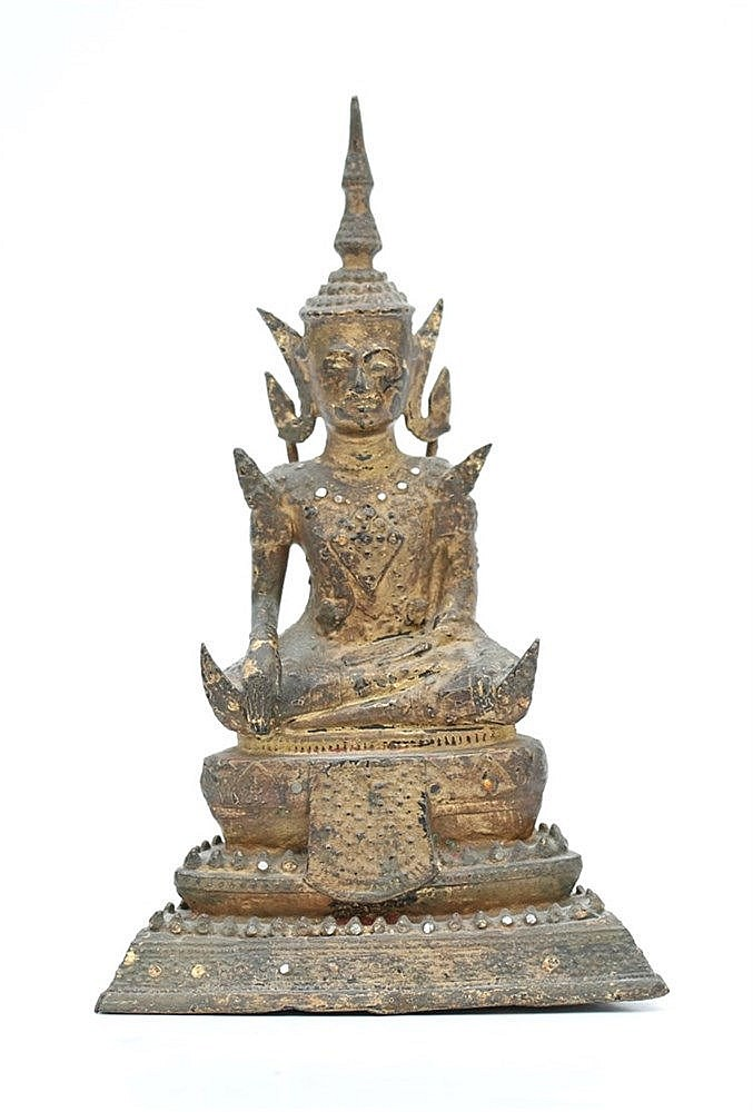A Thai Ratnakosin style gilt bronze Buddha, seated on a lotus t