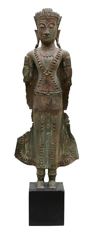A Thai Ayutthaya-style Buddha standing in samabhanga with bot