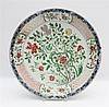 A Chinese famille verte dish decorated with peonies and chrysant