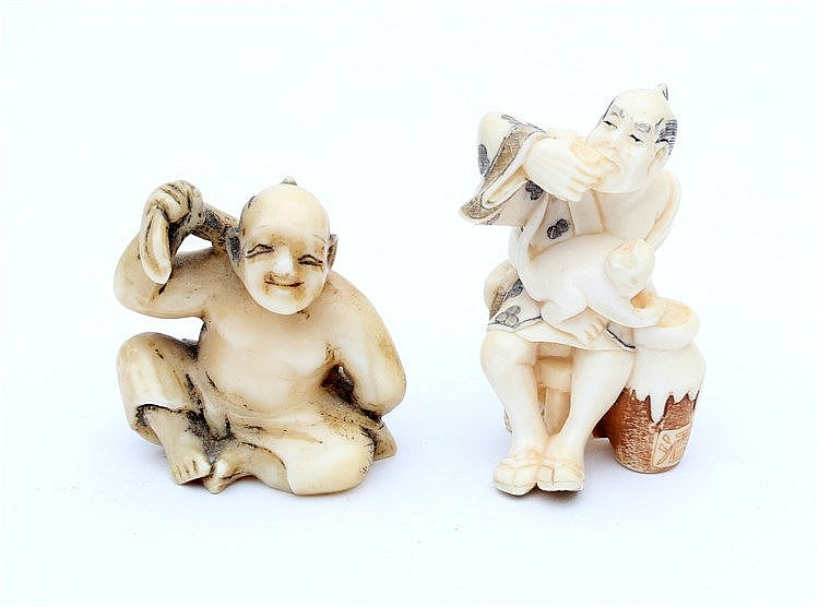 A Japanese ivory netsuke of a man after his bath, with signature