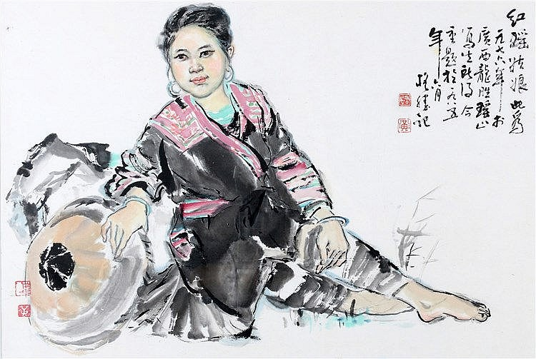 Chinese School 20ste eeuw Reclining woman. With inscription and s
