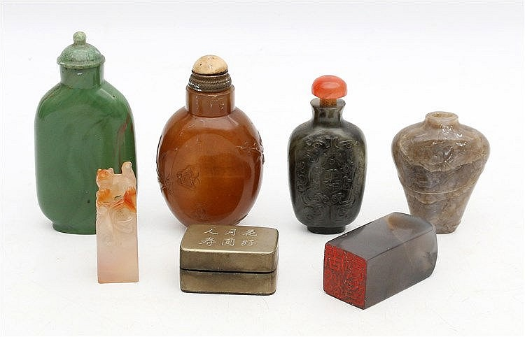 Four various Chinese hardstone snuffbottles, two various hardsto