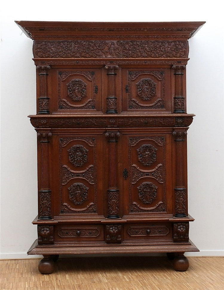 An oak fourdoor cabinet. In 17th century style. 19th century. 21