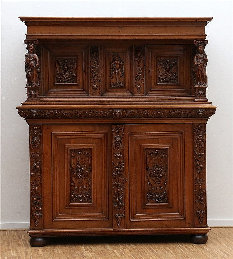 A softwood so called 'à deux corps' cabinet. In Renaissance styl