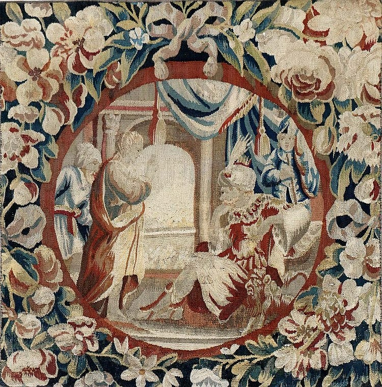 Part of a tapestry, with a depiction of king Salomon. Possibly D