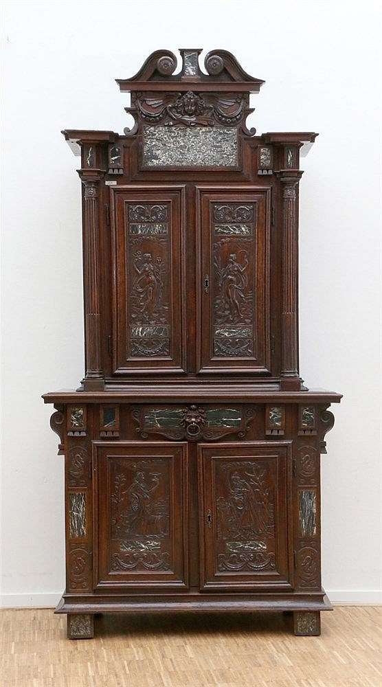 A fruitwood so called 'Ile de France' cabinet. Partly inlaid wit