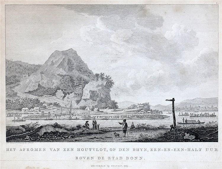 Carel Frederik Bendorp (1736-1814) Het afkomen van een houtvlot,