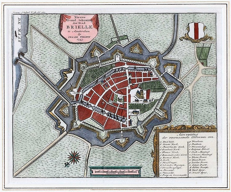 Handcolored and framed plan of Brielle published by Isaak Tirion